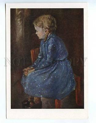 238305 Otto Nagel girl in a blue dress old russian postcard