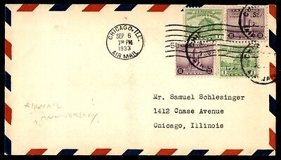 Century of Progress Issues 1933 Airmail Anniversary Schlesinger cover