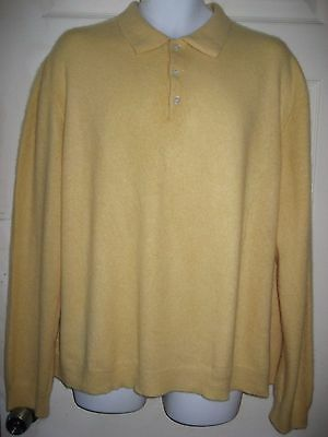 100% Cashmere Men's Polo/ Collar/long Sleeve Yellow Sweater Size Xl