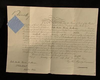 Victoria Signed Officers Commission 1898 Foster Newton Thorne S. Wales Borderers