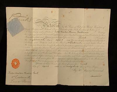 Victoria Signed Officers Commission 1900 Foster Newton Thorne Royal Sussex Regt
