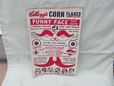 1950's Cereal Box Premium / Funny Face Cut-outs / Kellogg's Corn Flakes