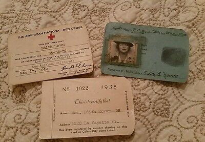 Vintage 1935 / 1942 Red Cross Military & Other Id Cards