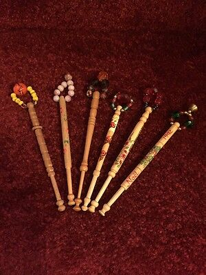 Lace Bobbins - 6 Antique Vintage Wood With Beads