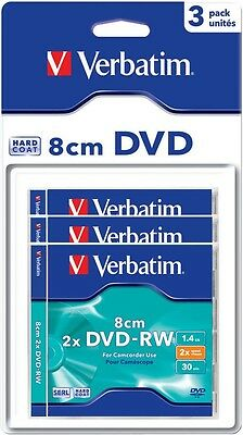 3 Verbatim DVD-RW mini 8cm 30Min 1,46Gb 2x Blister Jewelcase