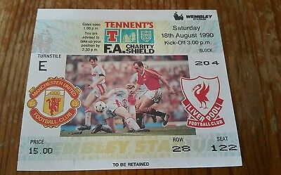 1990 Charity Shield Ticket Manchester United vs Liverpool MINT CONDITION