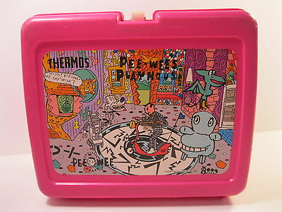 Pee-Wee's Playhouse Plastic Lunchbox Pink 1987 Good Used Condition