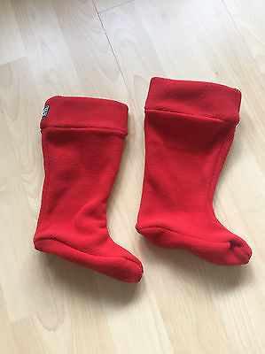 Jojomaman Bebe Polar fleece Welly Liners Red Size 11-12 RRP £12