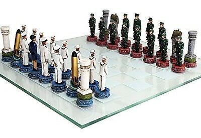 CTD Decor US Army vs Navy Military Chess Set Hand Painted with Glass Board Set