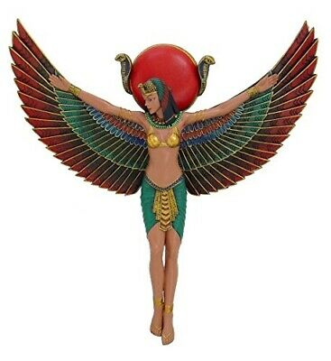 "Ancient Egyptian Goddess Isis With Open Wings Wall Plaque 13.5"" Tall Figurine"