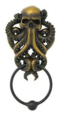 Egift Decor Octopus Skull Monster Resin Door Knocker with Cast Iron Knocker Wall