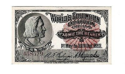 Chicago Worlds Fair 1893 Admission Ticket Columbian Exposition