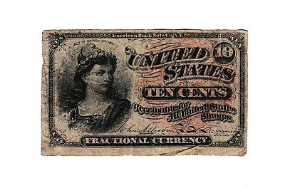 Fractional Currency 4th Issue 10 Cent Very Good FR 1258 Large Seal