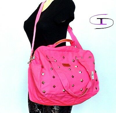 NWT Victoria's Secret Duffle  PINK Bling Studded Carry On Bag Small Tote VS1100