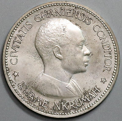 1958 GHANA Proof Silver 10 Shillings Large Kwame Nkrumah Coin (16032505R)