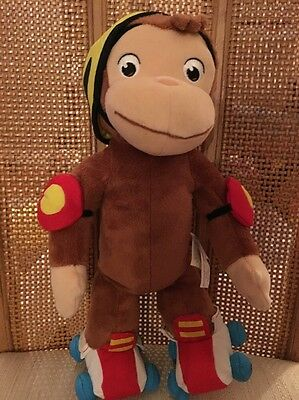 "Curious George Plush Monkey Roller Skating 12"" Tall Universal Studios Doll EUC"