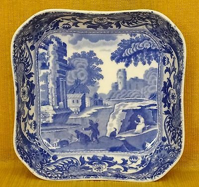 Vintage COPELAND SPODE Blue Italian Square Section DISH, c1920's