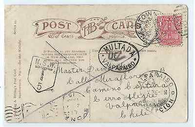 AUSTRALIA New South Wales taxed postcard New Town sent to Chile rare destination