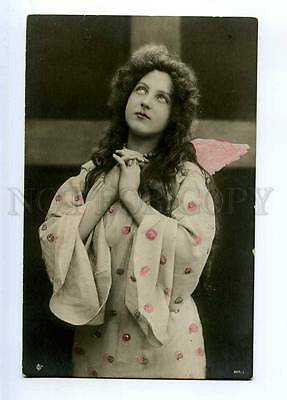 234130 Actress ANGEL w/ Wings LONG HAIR Vintage PHOTO PC