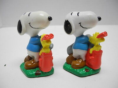 "Set of 2 Snoopy & Woodstock Playing Golf 2"" PVC Figure Peanuts Gang"