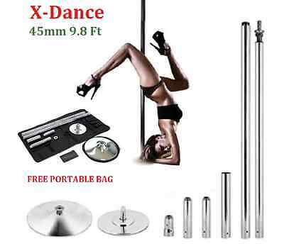 X-Dance 45mm Sturdy 9.8 Feet Dance Pole Chrome Fitness + 2 Carrying Bags NEW