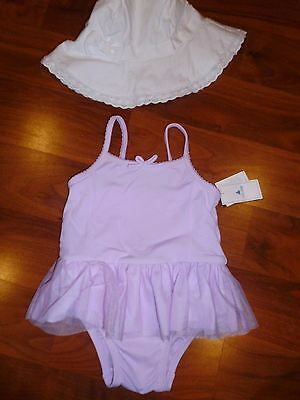 6 9 12 M BABY GAP Orchid Purple Tulle Skirted Swim suit Bathing SUN HAT Girl NWT