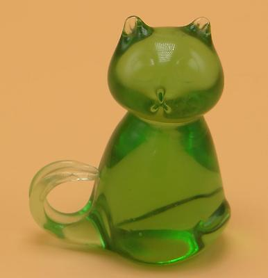"""Solid Glass Green Sitting Cat Kitty 3 1/4"""""""