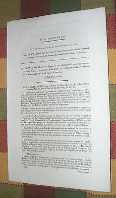1832 King of the Netherlands Disputed Boundary Between New Brunswick and America