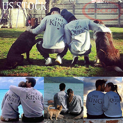 Mens Womens Letter Print Long Sleeve T-Shirt Hoodie Pullovers Couple Tops Blouse