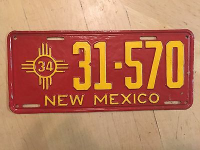 """1934 New Mexico Auto Passenger License Plate  """" 31 570 """" Nm 34  Repainted"""