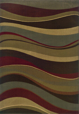 """Sphinx Multi 2 x 8 Lines Waves Runner Shapes Area Rug - Approx 1' 10"""" x 7' 6"""""""