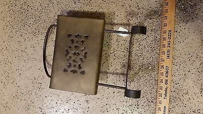 brass kettle shelf cast iron supports vintage antique old