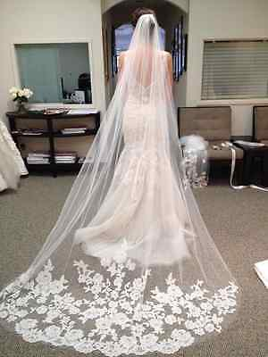 3M 1 Layer Bianco Bride Sposa Matrimonio Cathedral Velo scialle Bordo In Pizzo