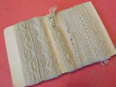 5 yards Antique Vtg Cotton Valenciennes Lace Trim TINY doll clothing polka dot