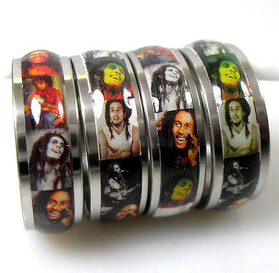 5 pieces  Bob Marley stainless steel rings Jewelry lots Wholesale