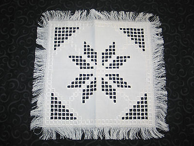 Stunning Antique Norwegian Hand Embroidered Hardanger Lace Cloth-Doily