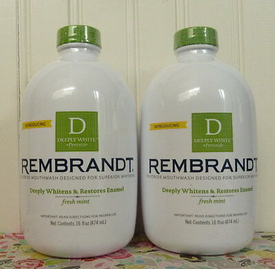 Lot Of 2 Sealed Rembrandt Deeply White Fluoride Mouthwash 16 Oz. Ea. Fresh Mint