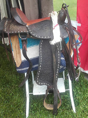 Original Brown Western Saddle Girth Saddlecloth Bridle Bit Reins Complete