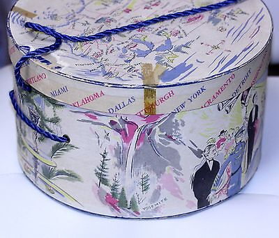 Vintage 1950 GRAPHIC HATBOX hat box USA MAP CITIES graphics of cities 11 X 6 1/2