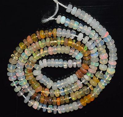 """15"""" Stunning Natural Ethiopian Welo Fire Opal Smooth Rondelle Beads EB1771"""
