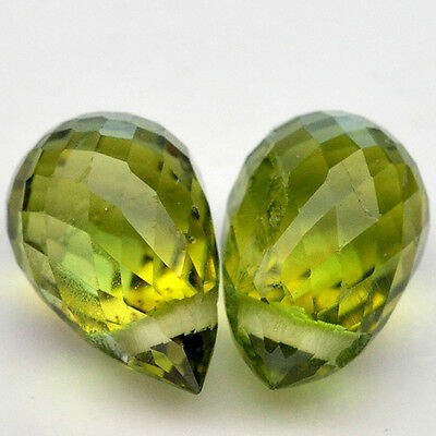 2.10 Ct. Top Quality Natural Gemstone Pair Briolette Drill Green Peridot