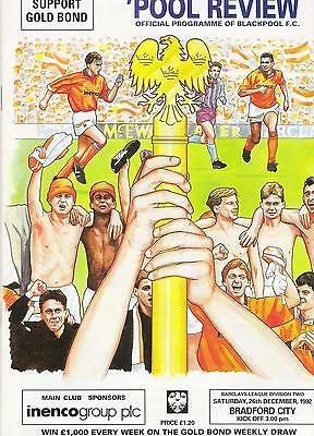 blackpool v bradford city football programme 26/12/92