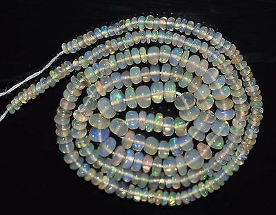 """17"""" Stunning Natural Ethiopian Welo Fire Opal Smooth Rondelle Beads EB1499"""