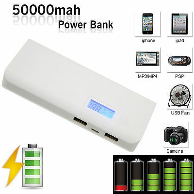 50000mAh Externe Power Bank USB Batterie Portable Chargeur Pour Smartphone Gris