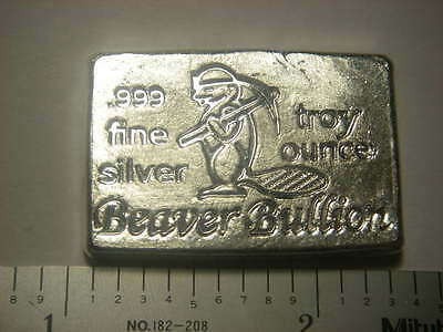 Beaver Bullion hand poured Canadian 1 troy ounce .999 fine silver bar