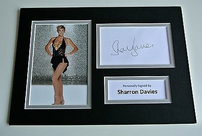 Sharron Davies Signed Autograph A4 photo mount display Olympic Swimming & COA