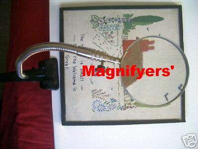 magnifying glass stand bench desk magnifier clamp Hands free flexible neck NEW