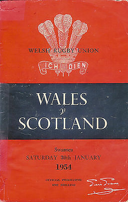 WALES v SCOTLAND 1954 RUGBY PROGRAMME - LAST FIVE NATIONS MATCH AT SWANSEA