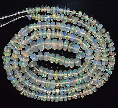 """16.5"""" Stunning Natural Ethiopian Welo Fire Opal Smooth Rondelle Beads EB1525"""