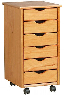 Real Wood 6 Drawer Rolling Cart Storage Organization Cabinet Solid Home Office